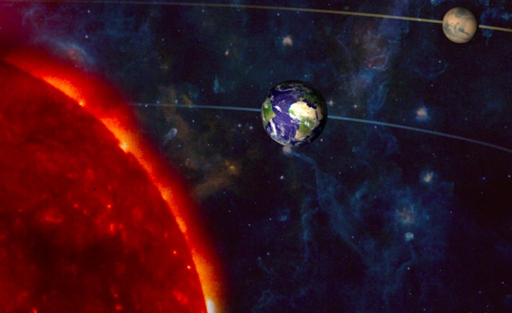 المريخ يقترب من الأرض والشمس